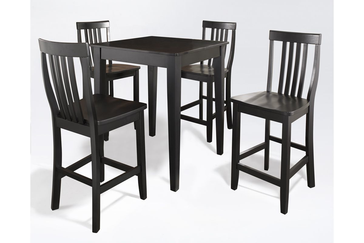 5 Piece Pub Dining Set with School House Stools in Black by Crosley