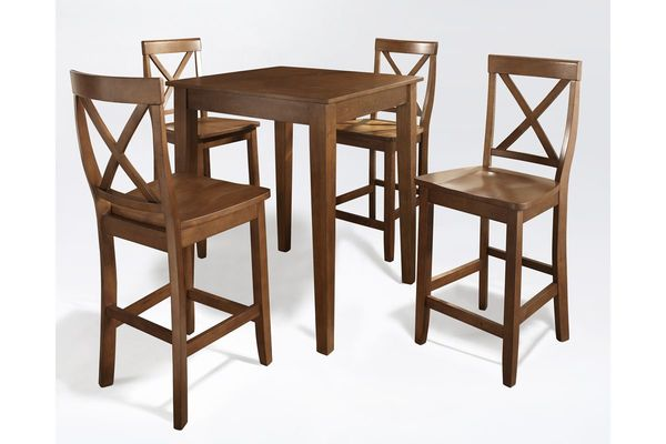 5 Piece Pub Dining Set With X Back Stools In Classic Cherry By Crosley