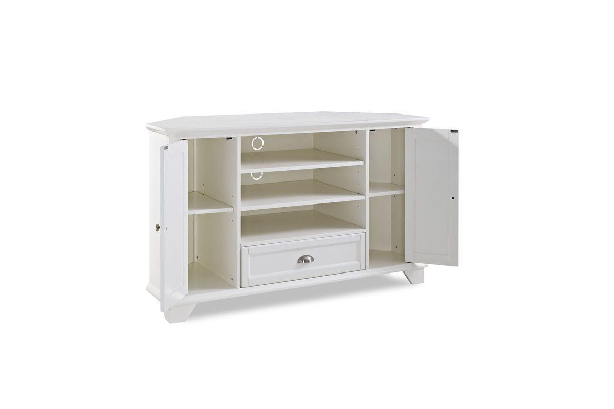 palmetto 50 corner tv stand in white by crosley at gardner white. Black Bedroom Furniture Sets. Home Design Ideas