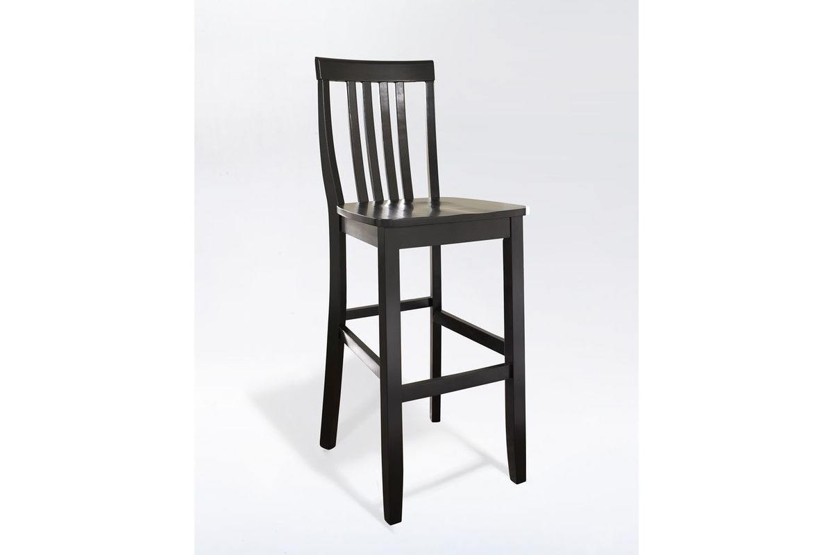 School House Bar Stool In Black With 30 Inch Seat Height Set Of Two