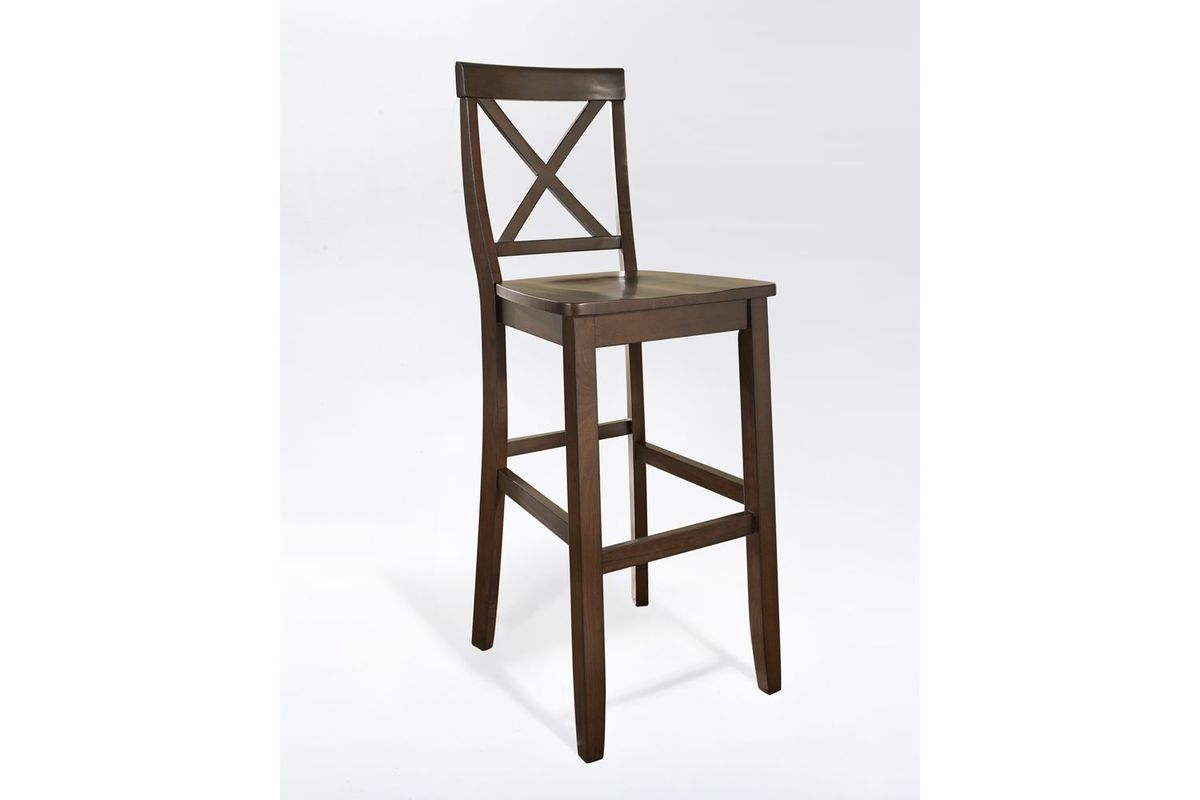 x back bar stool in mahogany with 30 inch seat height set of two by crosley. Black Bedroom Furniture Sets. Home Design Ideas