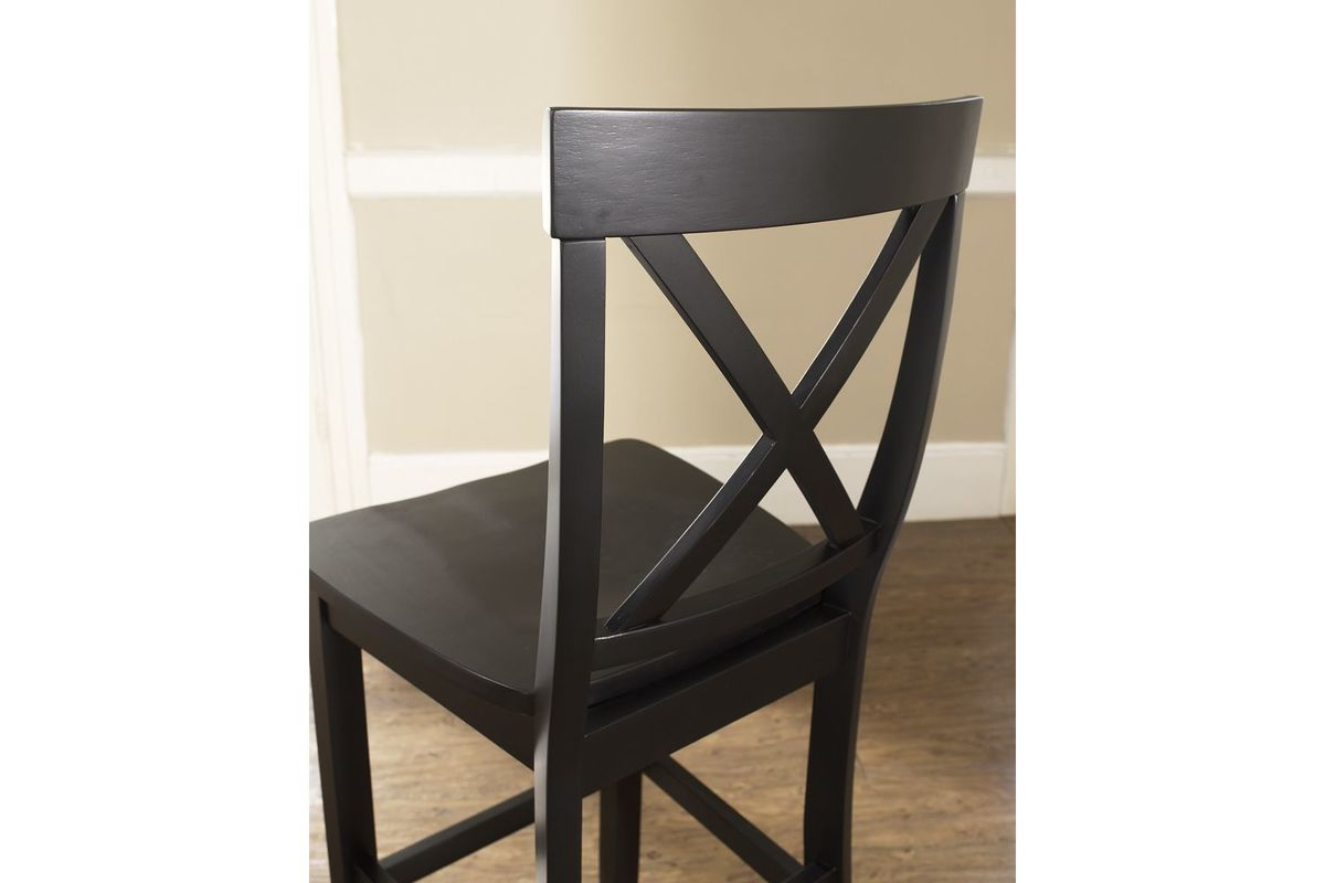 X Back Bar Stool In Black With 30 Inch Seat Height Set Of