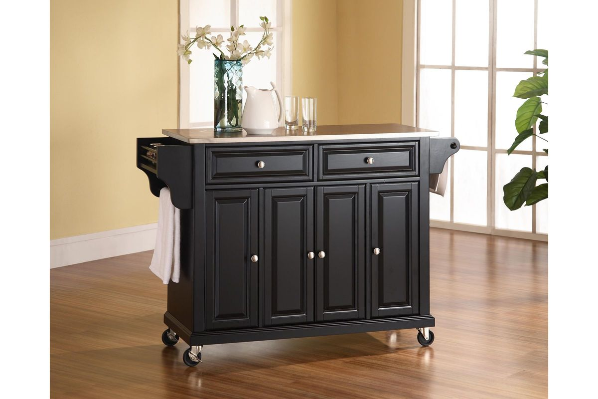 Stainless Steel Top Kitchen Cart/Island in Black by Crosley