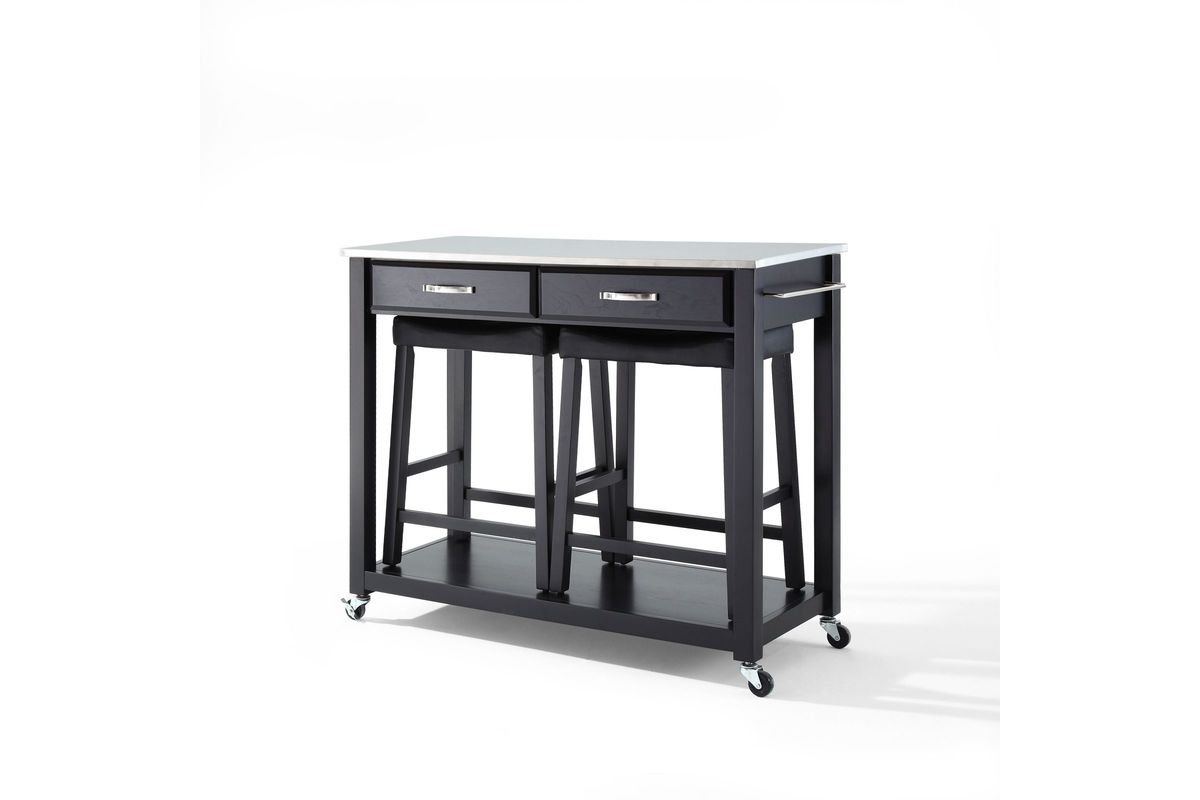 Stainless Steel Top Kitchen Cart Island In Blk W 24 Black Upholstered Saddle Stools By Crosley