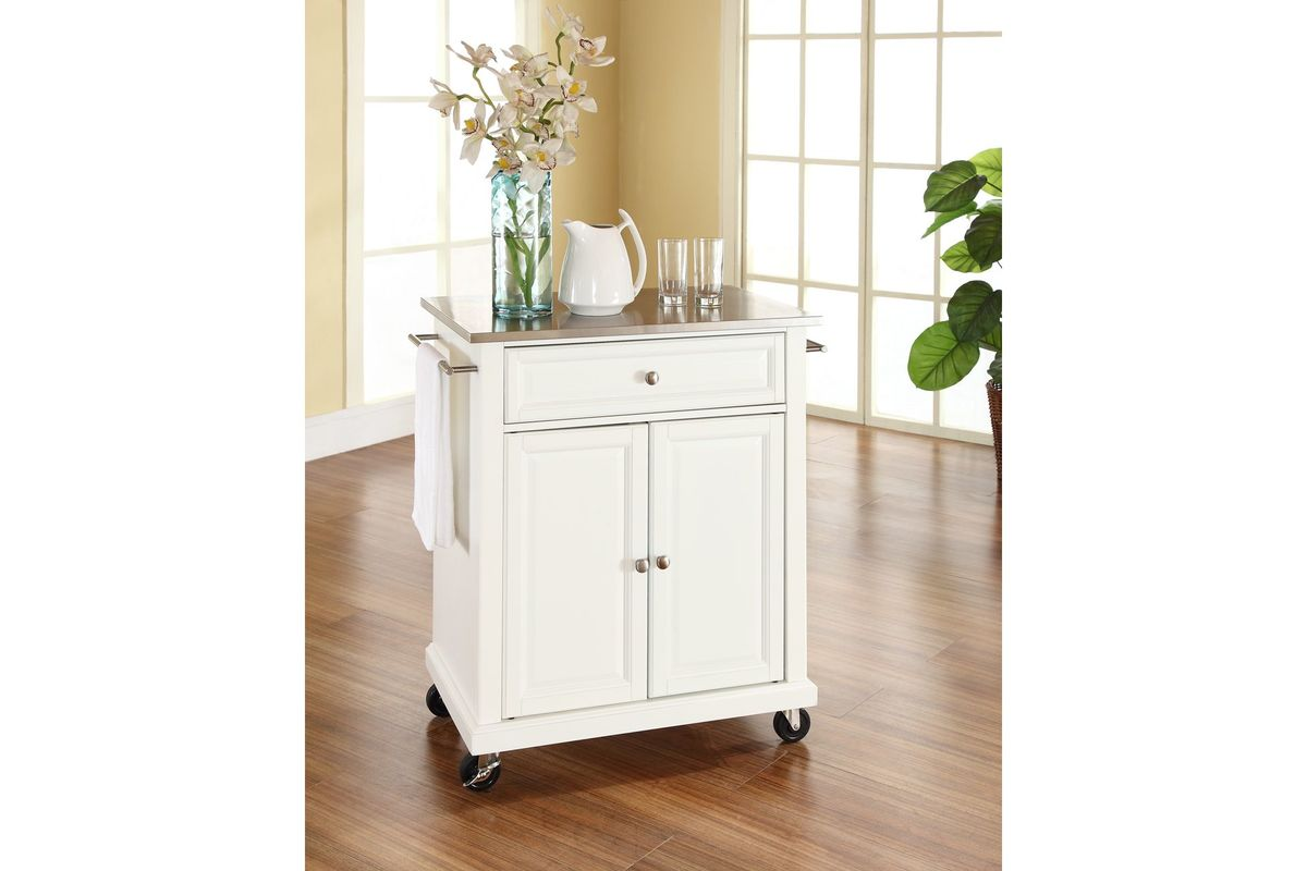 Stainless Steel Top Portable Kitchen Cart Island In White
