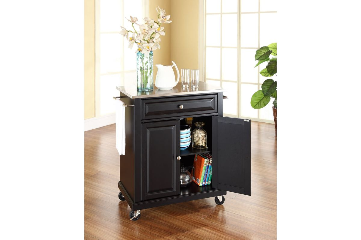 Stainless Steel Top Portable Kitchen Cart Island In Black By Crosley