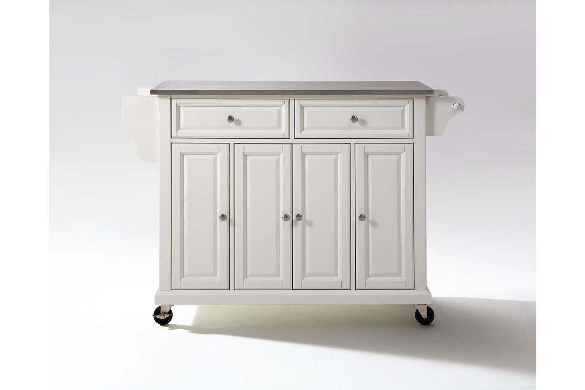 kitchen island cart stainless steel stainless steel top kitchen cart island in white by crosley 8155