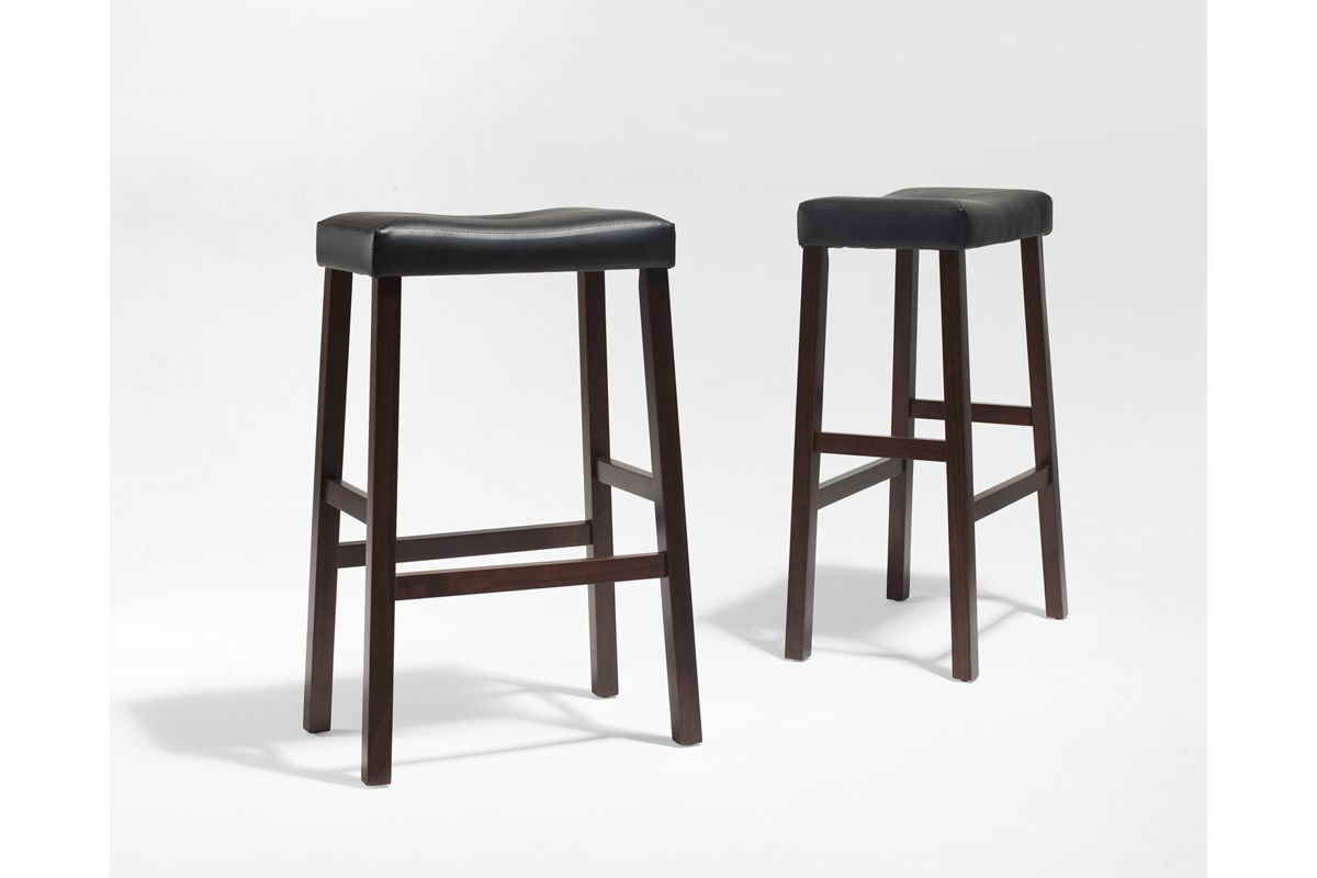 Upholstered Saddle Seat Bar Stool In Mahogany With 29 Inch Height Set Of Two By