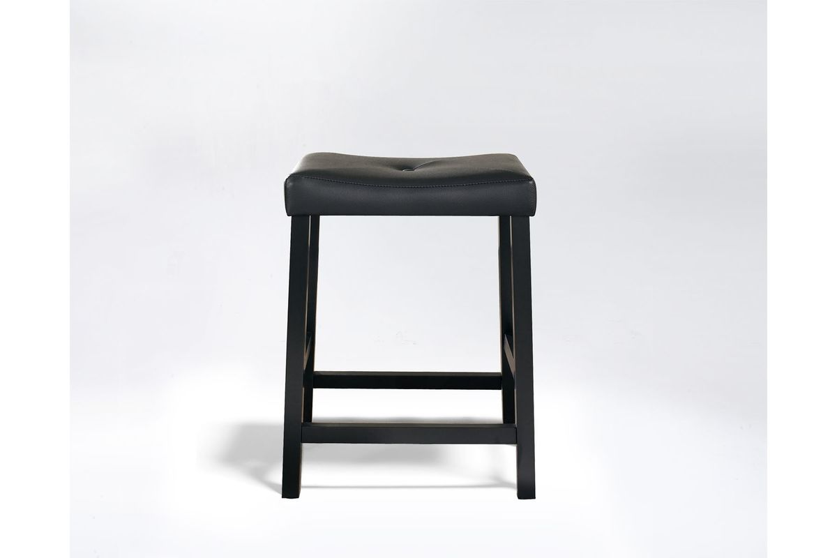 Upholstered Saddle Seat Bar Stool In Black With 24 Inch