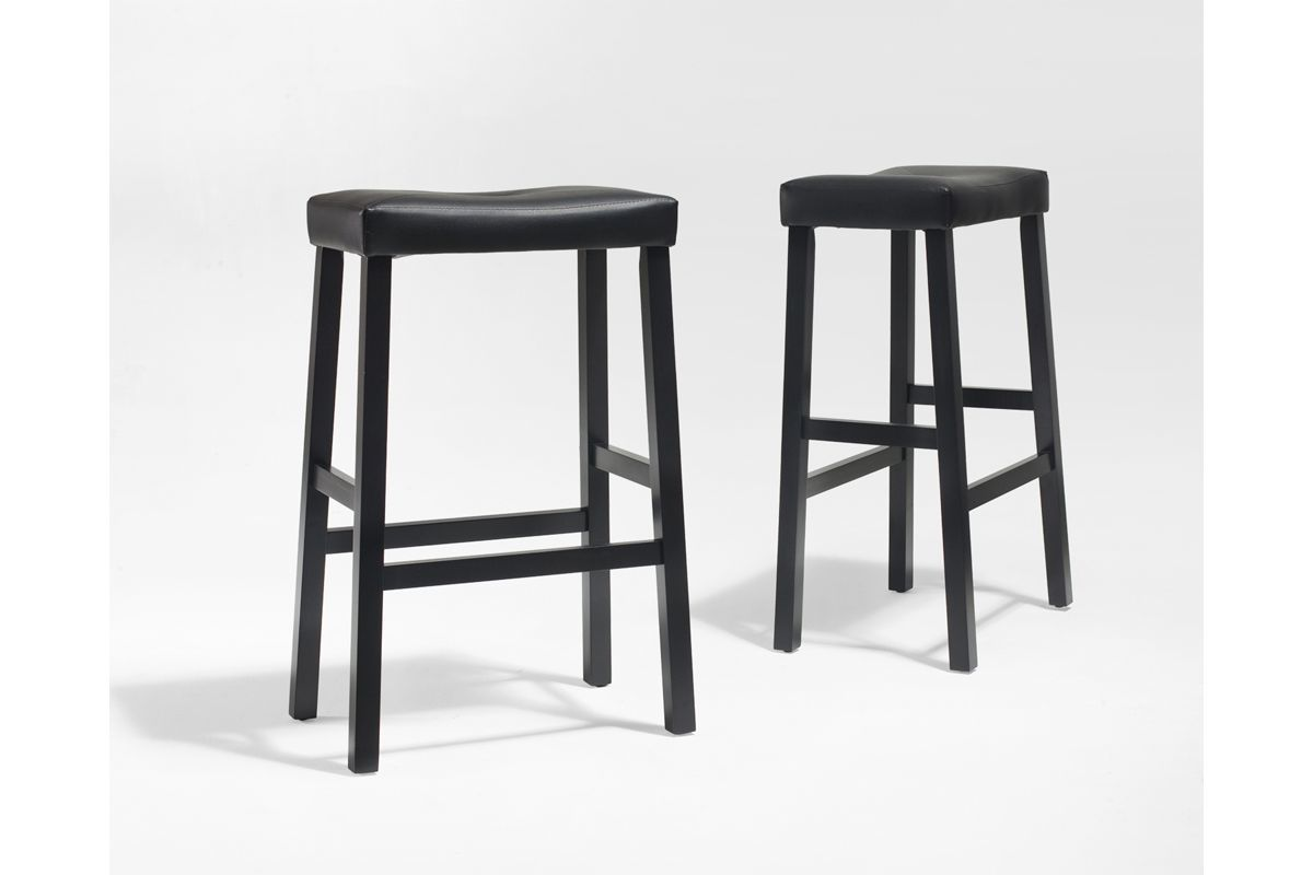 Upholstered Saddle Seat Bar Stool In Black With 29 Inch Height Set Of Two By