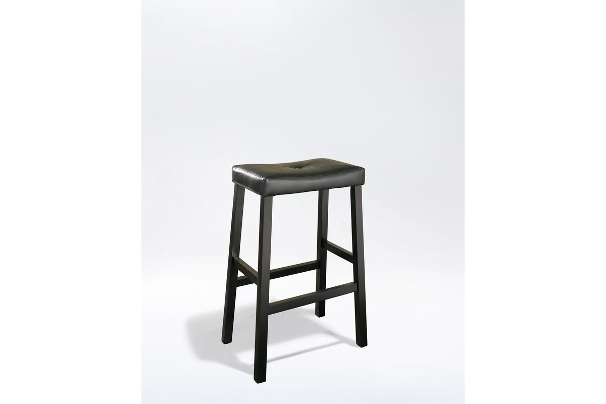 Upholstered Saddle Seat Bar Stool In Black With 29 Inch Seat Height Set Of Two By Crosley