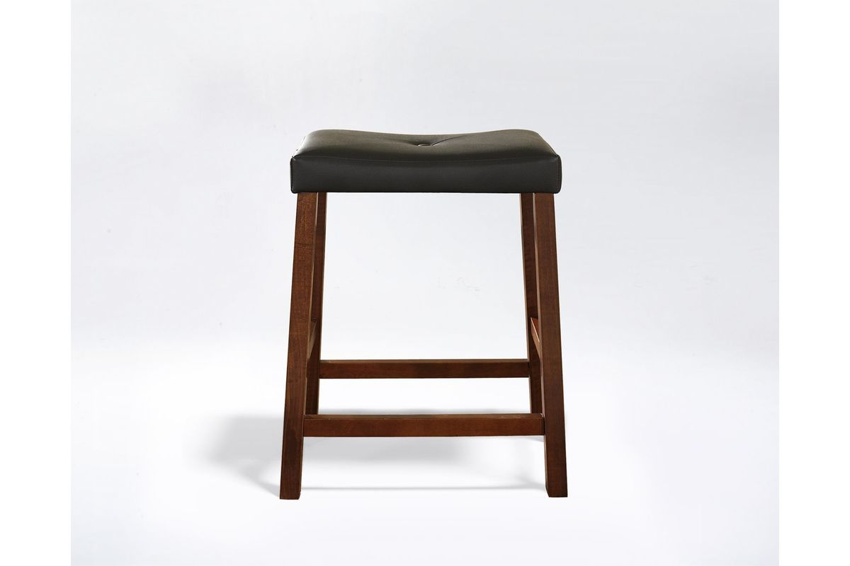 Upholstered Saddle Seat Bar Stool In Cherry With 24 Inch Seat Height