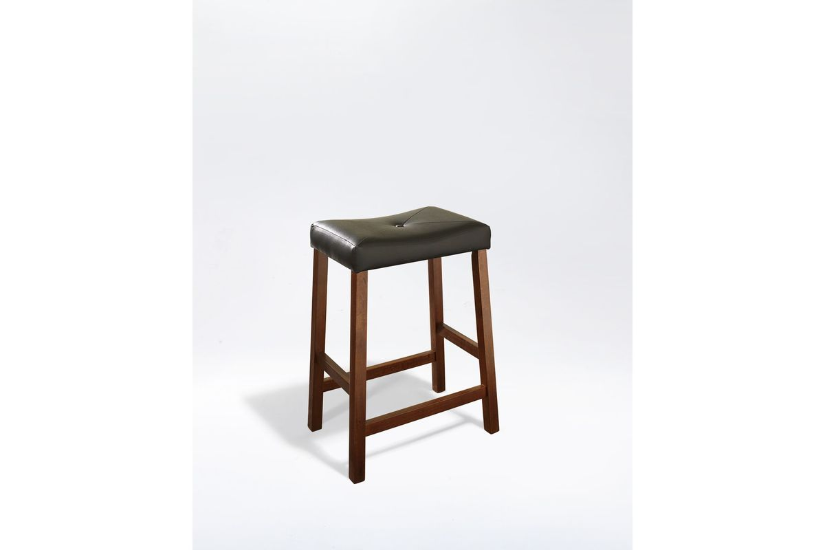Upholstered Saddle Seat Bar Stool In Cherry With 24 Inch
