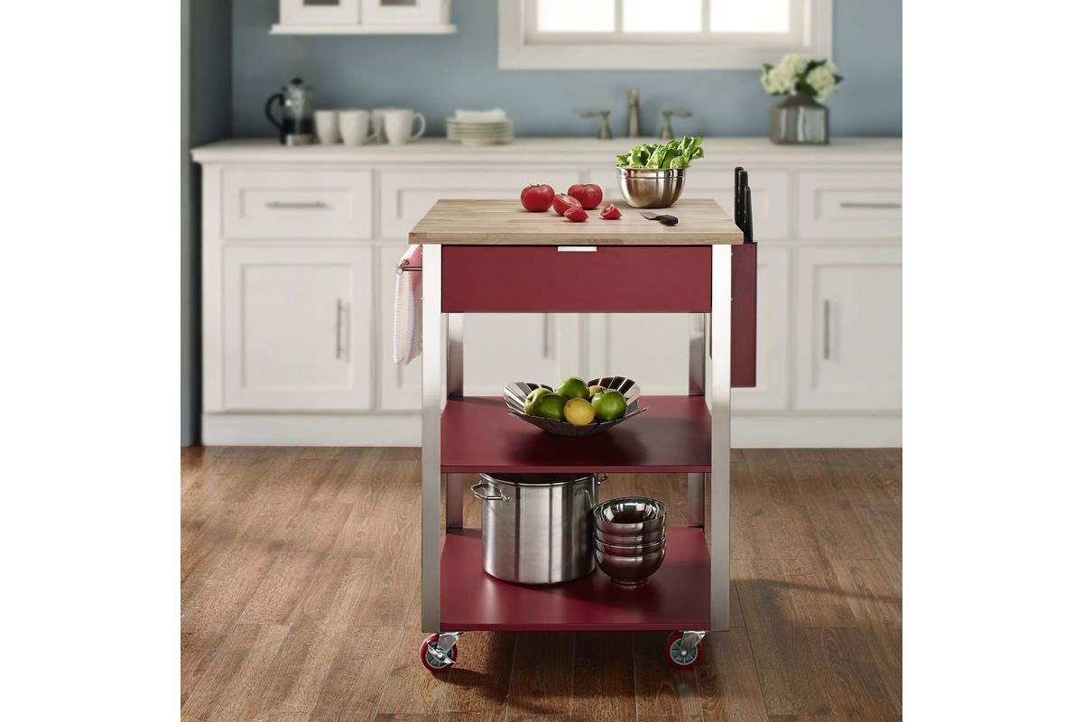 Share Culinary Prep Kitchen Cart in Red