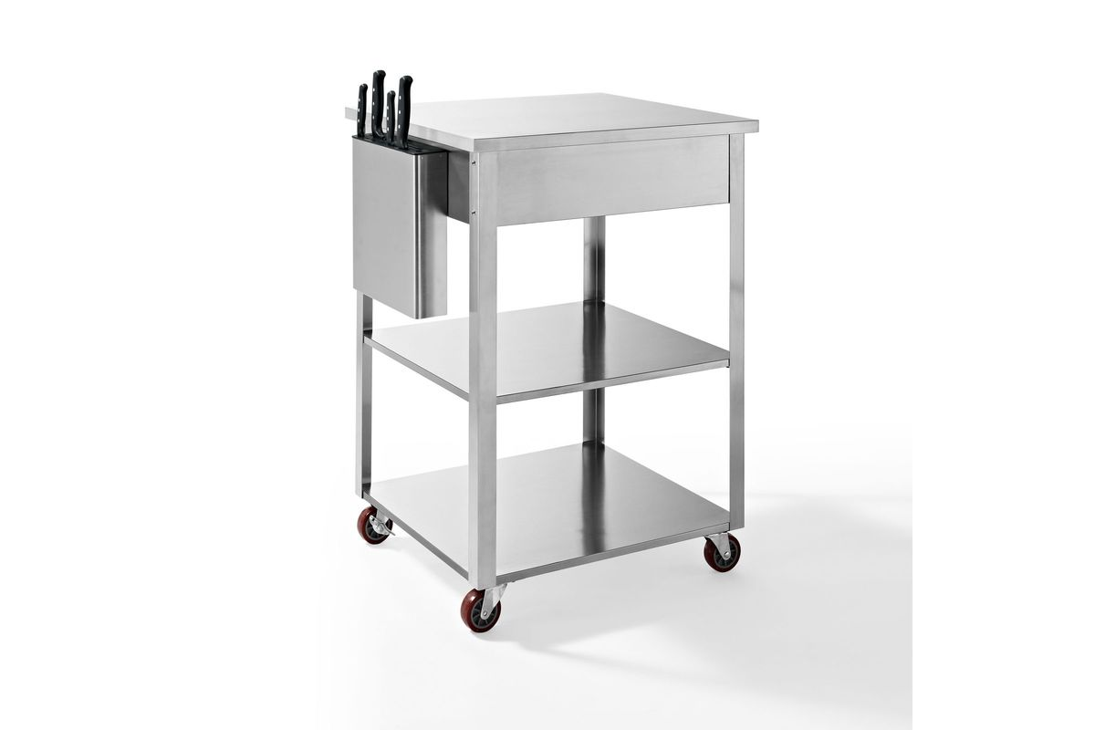 Culinary Prep Kitchen Cart In Stainless Steel By Crosley