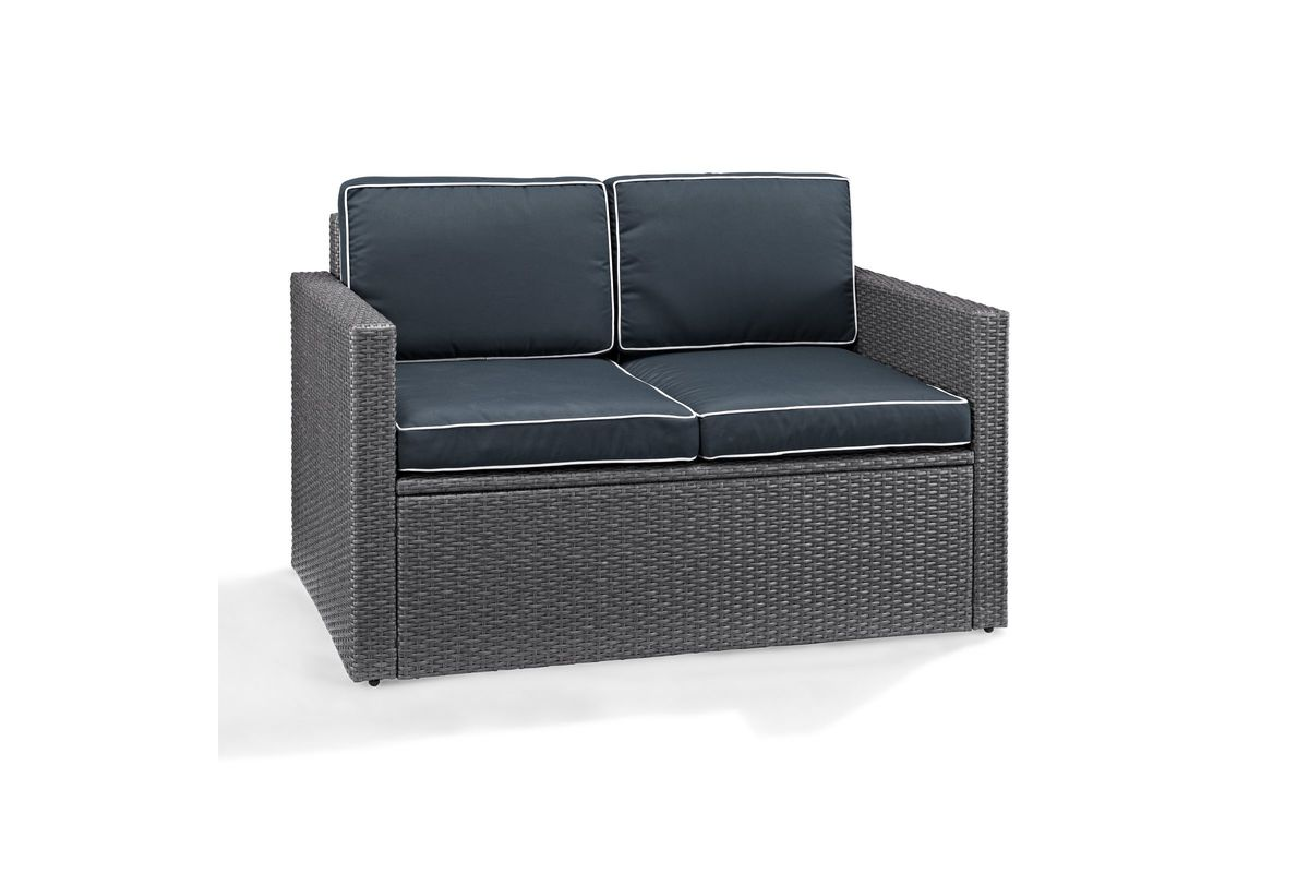 Enjoyable Palm Harbor Outdoor Loveseat In Grey Wicker With Navy Cushions By Crosley Fdrop 170106 Creativecarmelina Interior Chair Design Creativecarmelinacom