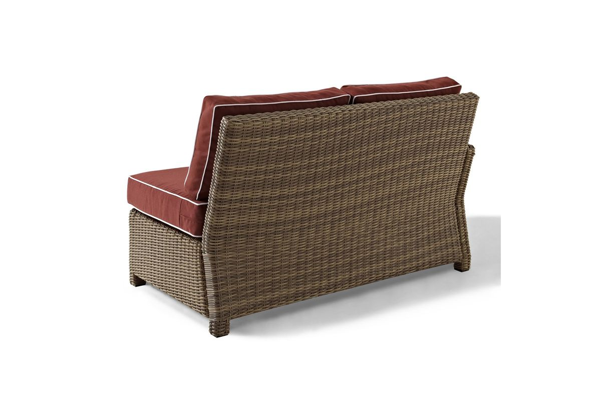 Bradenton Outdoor Wicker Sect Left Corner Loveseat With Sangria Cushions In Brown By Crosley