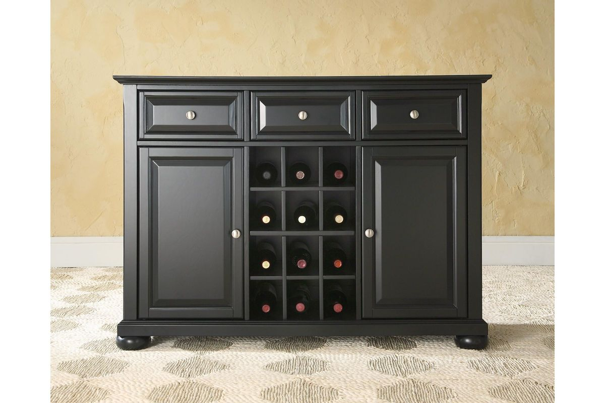 Alexandria Buffet Server Sideboard Cabinet With Wine Storage In Black By Crosley