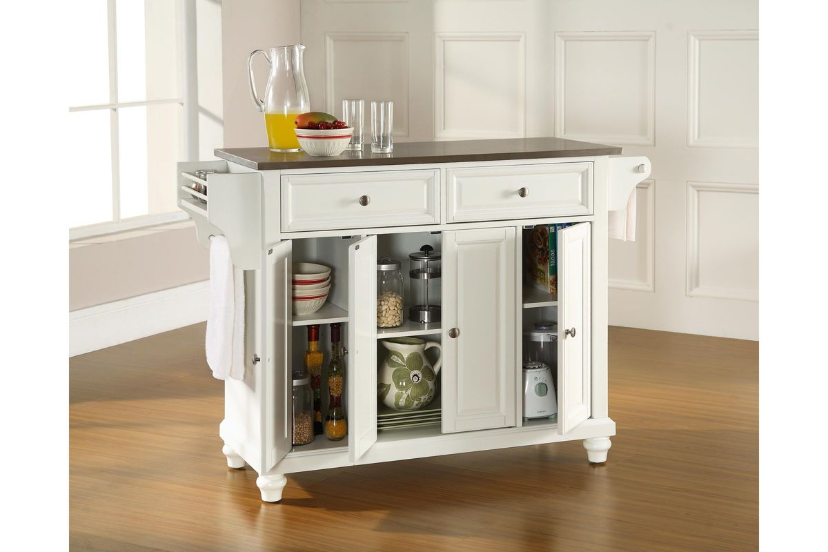 metal kitchen island cambridge stainless steel top kitchen island in white by 4091