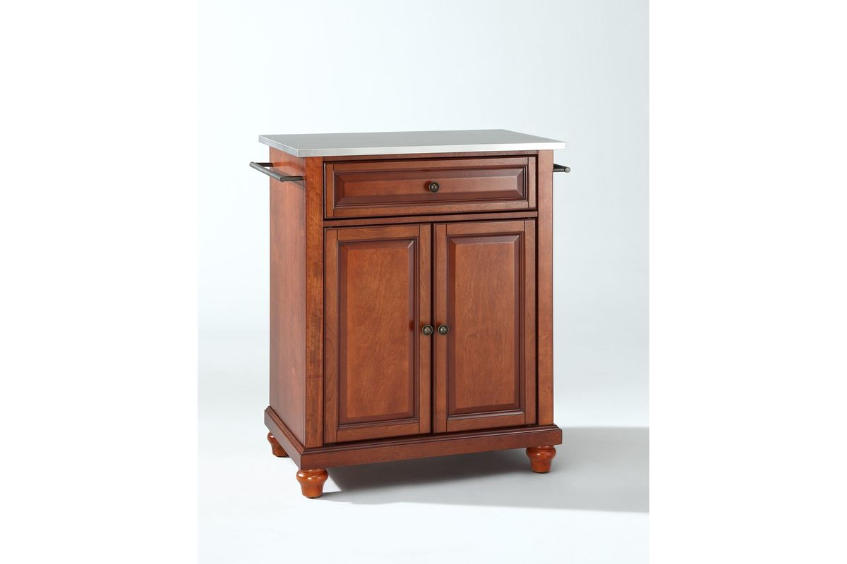 Cambridge Stainless Steel Top Portable Kitchen Island in Classic Cherry by Crosley from Gardner-White Furniture