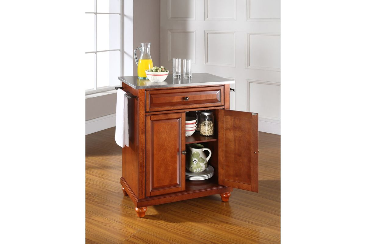 Cambridge Stainless Steel Top Portable Kitchen Island in Classic Cherry Finis