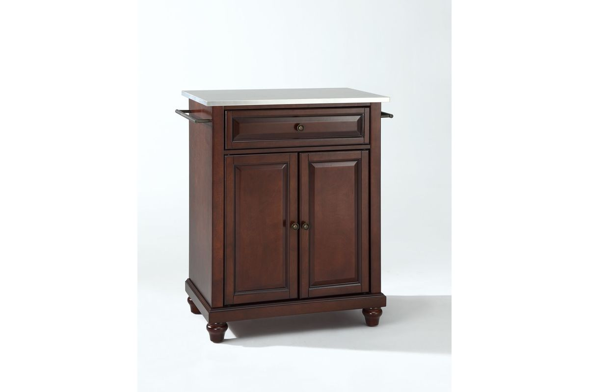Cambridge Stainless Steel Top Portable Kitchen Island in Vintage Mahogany by Crosley from Gardner-White Furniture