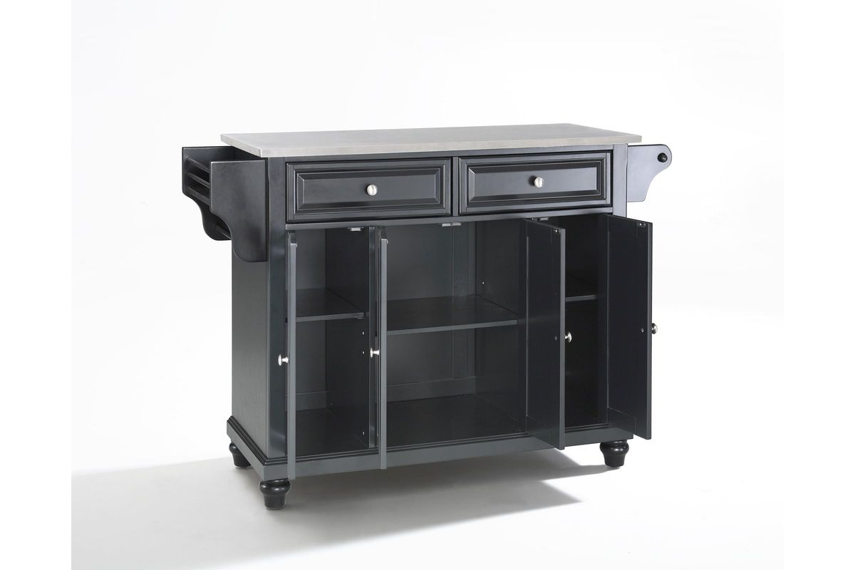 steel top kitchen island cambridge stainless steel top kitchen island in black 22186