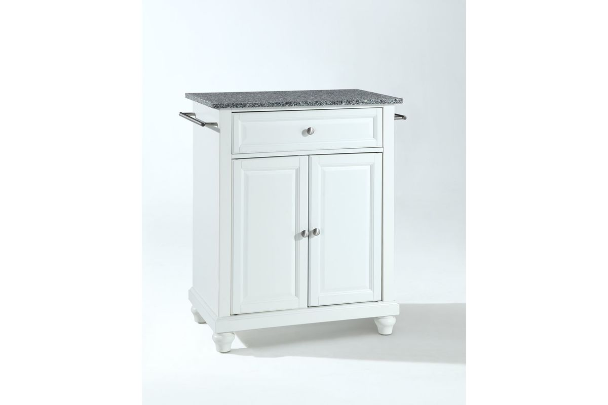 Cambridge Solid Granite Top Portable Kitchen Island in White by Crosley from Gardner-White Furniture