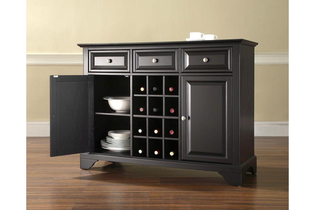 Lafayette Buffet Server Sideboard Cabinet with Wine Storage in Black by Crosley