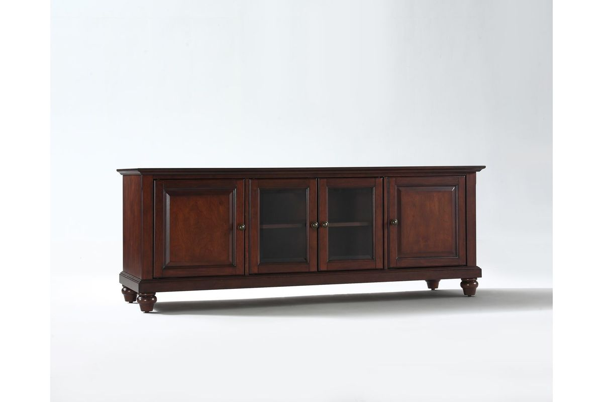 Cambridge 60 Low Profile Tv Stand In Vintage Mahogany By Crosley