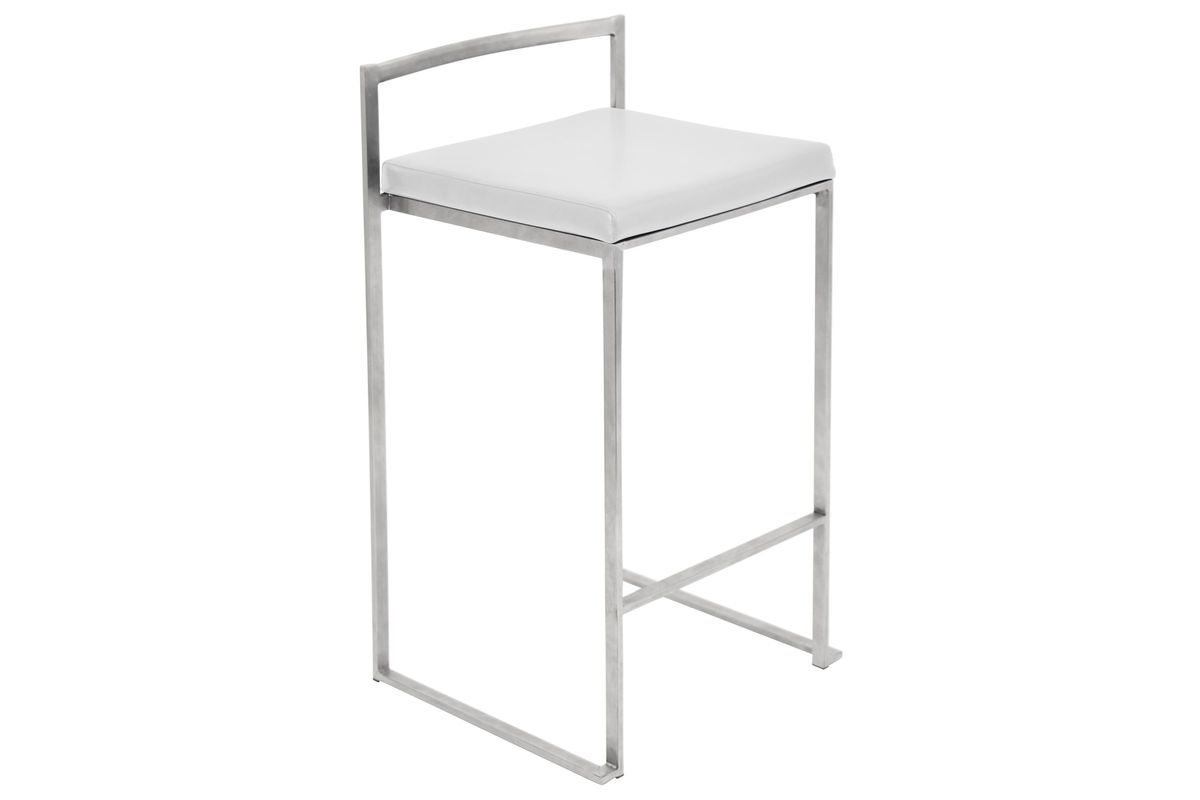Fuji Stackable Counter Stool in White - Set Of 2 by LumiSource from Gardner-White Furniture
