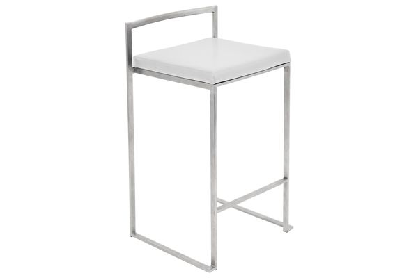 Fuji Stackable Counter Stool In White   Set Of 2 By LumiSource