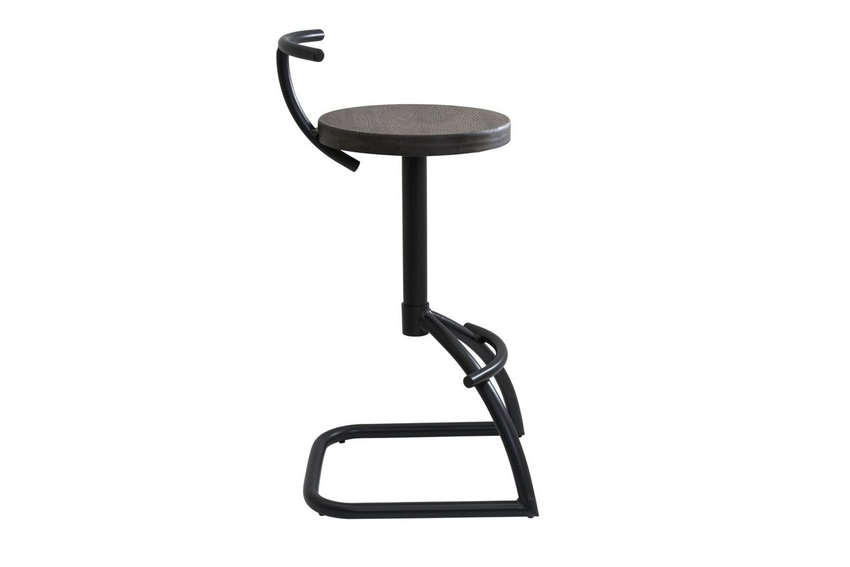 Mantis Industrial Style Barstool In Black Metal With