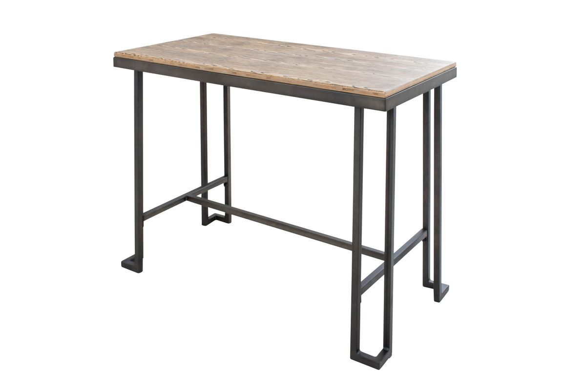 Roman Industrial Counter Table with Wooden Top and Antique Frame by ...