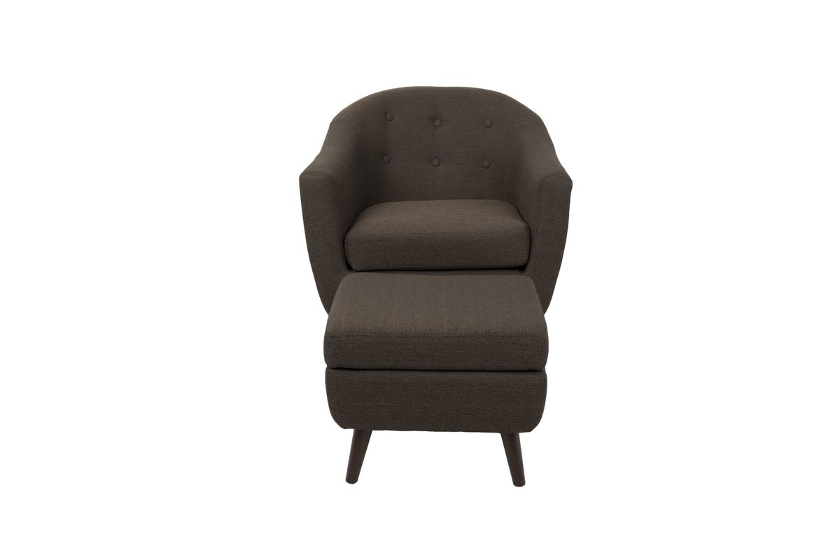Rockwell Mid Century Modern Accent Chair: Rockwell Mid-Century Modern Chair With Ottoman In Espresso