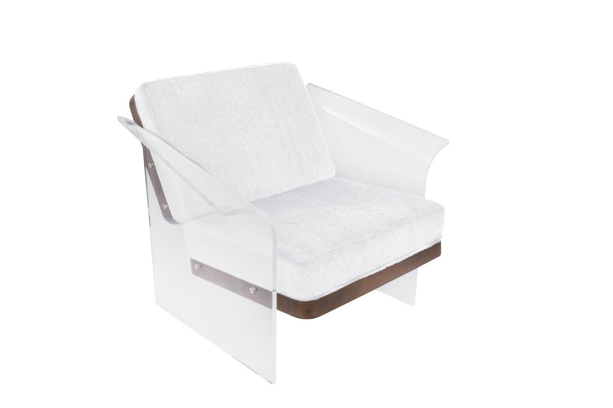Outstanding Float Chair In White Mohair Fabric Accented By Walnut Wood And Clear Acrylic By Lumisource Gmtry Best Dining Table And Chair Ideas Images Gmtryco