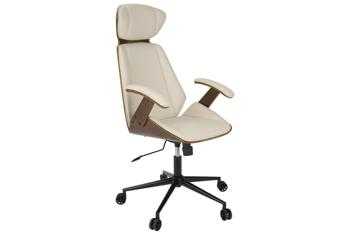 Terrific Spectre Mid Century Modern Walnut Wood Office Chair In Cream By Lumisource Fdrop 161229 Caraccident5 Cool Chair Designs And Ideas Caraccident5Info