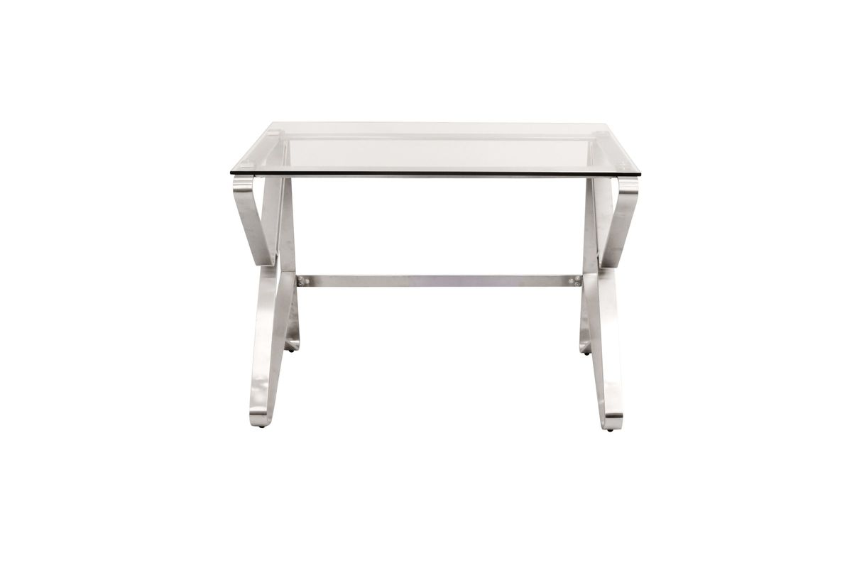 Foundry Contemporary Desk In Brushed Stainless Steel And