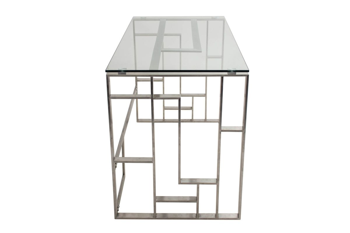 Mandarin Contemporary Desk In Brushed Stainless Steel And