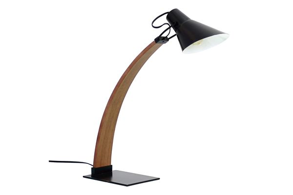 Contemporary desk lamp with wood arch base