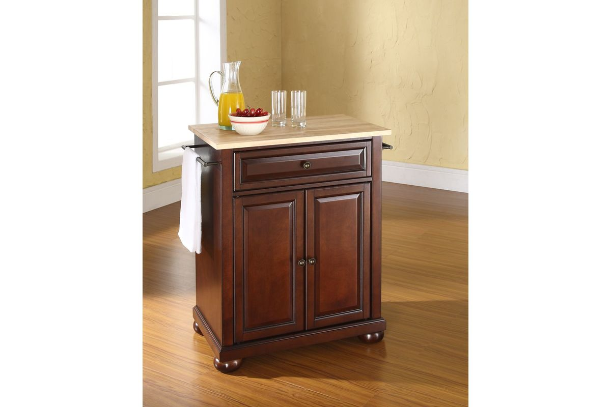 Alexandria Natural Wood Top Portable Kitchen Island In