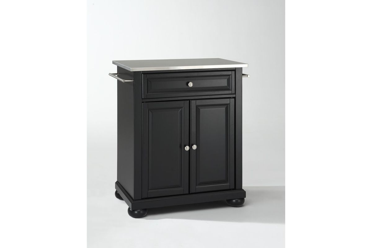 Alexandria Stainless Steel Top Portable Kitchen Island in Black by Crosley from Gardner-White Furniture