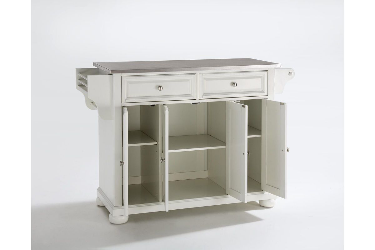 Alexandria Stainless Steel Top Kitchen Island In White By