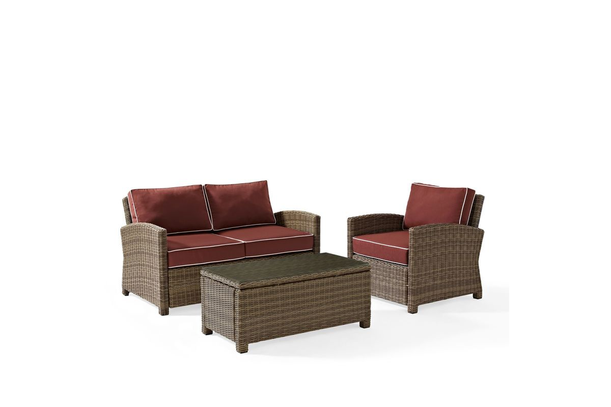 Bradenton Sangria 3 Piece Outdoor Loveseat, Chair, and Table Set by Crosley from Gardner-White Furniture