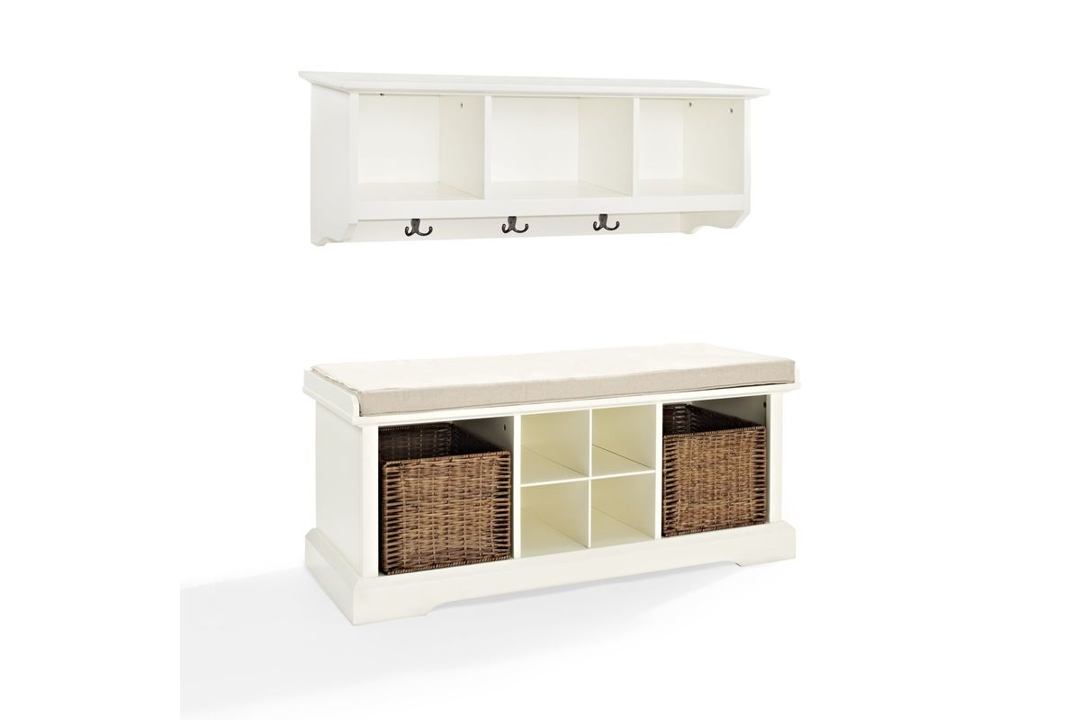 Brennan 2 Piece Entryway Bench and Shelf Set in White by Crosley from Gardner-White Furniture