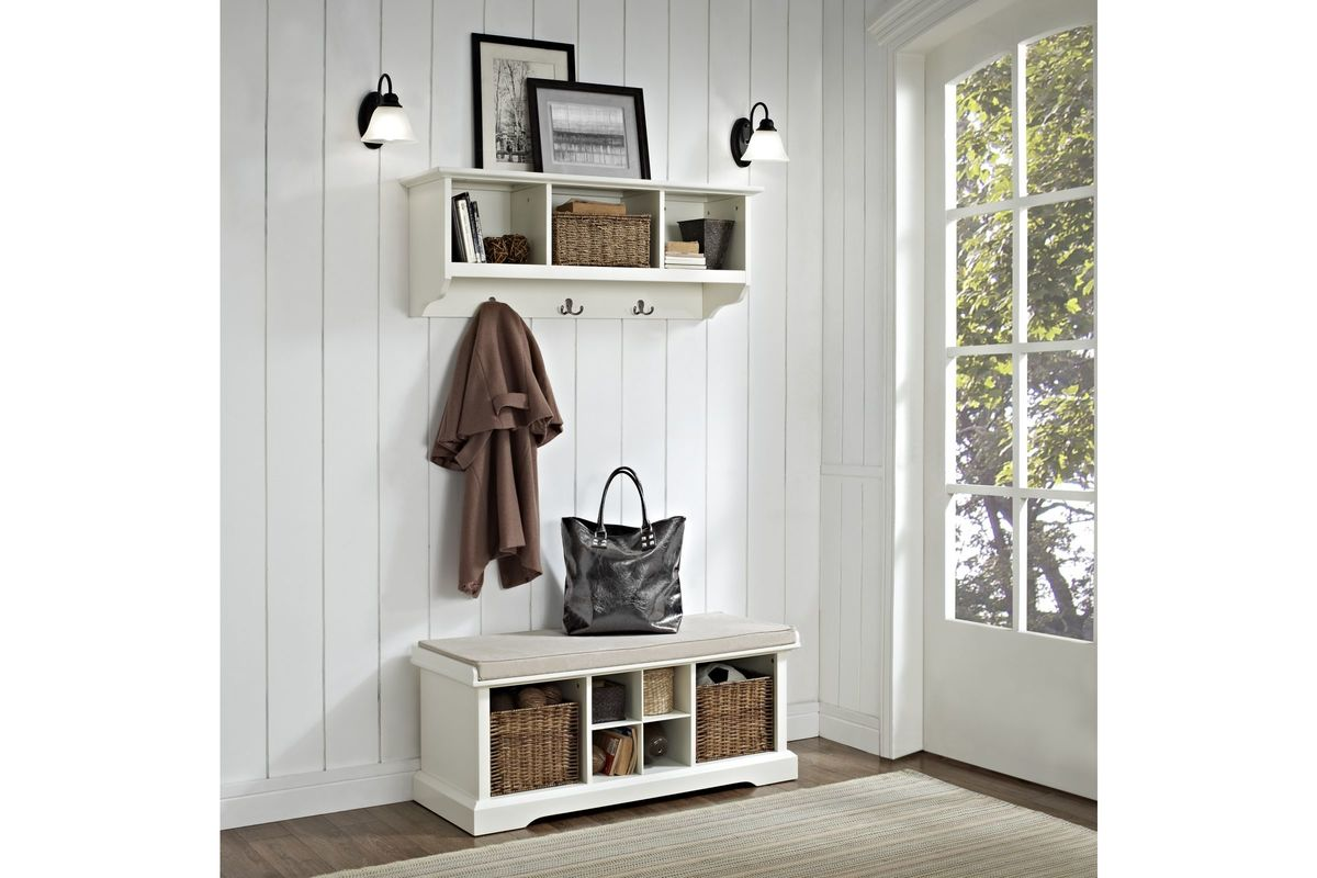 brennan 2 piece entryway bench and shelf set in white by crosley. Black Bedroom Furniture Sets. Home Design Ideas