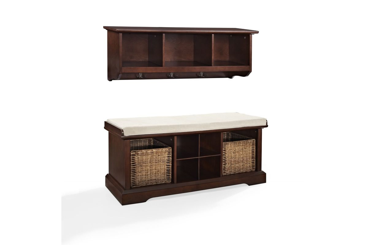 Brennan 2 Piece Entryway Bench and Shelf Set in Mahogany by Crosley from Gardner-White Furniture