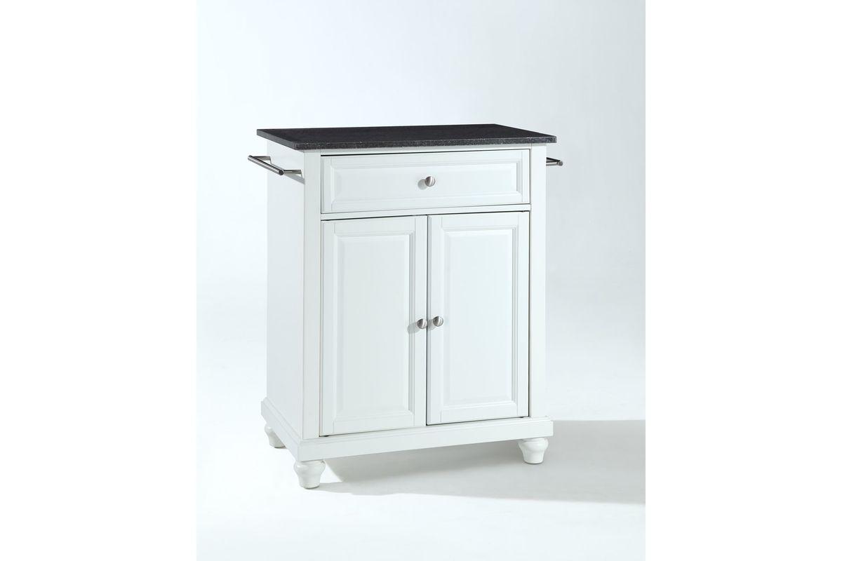 Cambridge Solid Black Granite Top Portable Kitchen Island in White by Crosley from Gardner-White Furniture