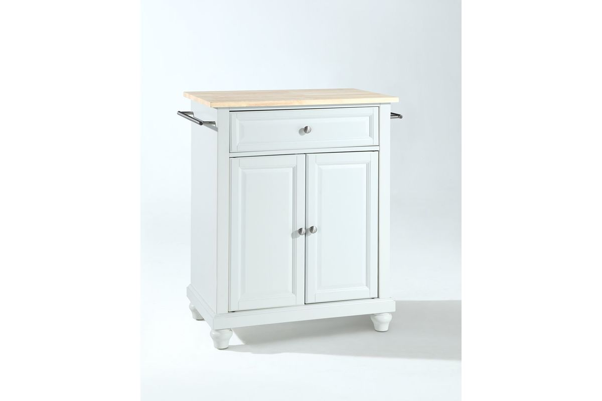 Cambridge Natural Wood Top Portable Kitchen Island in White by Crosley from Gardner-White Furniture