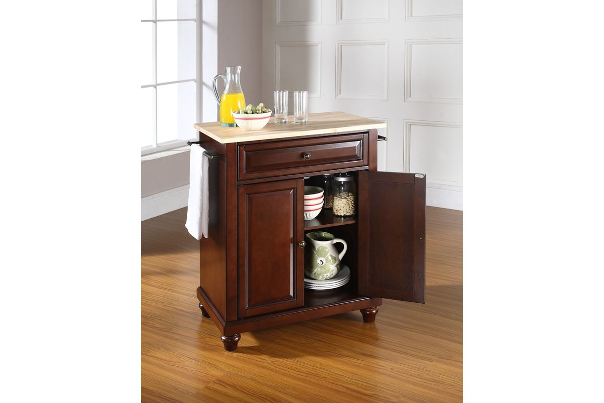 Cambridge Natural Wood Top Portable Kitchen Island In
